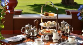 Terrace afternoon tea at Victoria Falls Hotel, Victoria Falls, Zimbabwe,