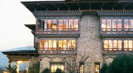 Exterior view of Hotel Zhiwa Ling in Paro, Bhutan