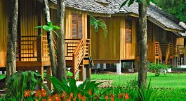 Exterior view of La Folie Lodge in Champassak, Laos, Asia