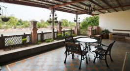 The lounge at Haveli Hari Ganga in Haridwar, India