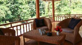 Terrace at Nam Cang Riverside Lodge Hotel in Sa Pa, Vietnam