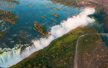 nature tourism - Victoria Falls from the air in the afternoon,