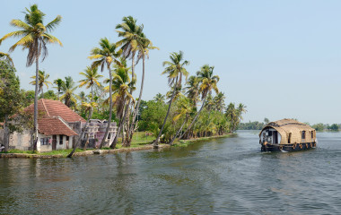 Beautiful Houseboat at back waters of Kerala, South India