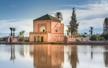 Menara gardens reflecting pool and pavilion, Marrakech, Morocco, Africa
