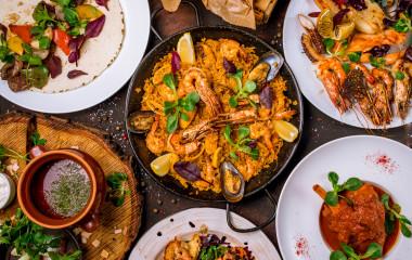 Assorted Spanish food set Paella seafood platters, grilled seafood
