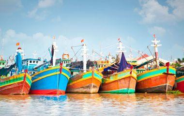 Fischerboote im Mekong Delta, Vietnam