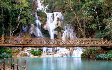 The Kuang Si waterwall in Laos, Asia