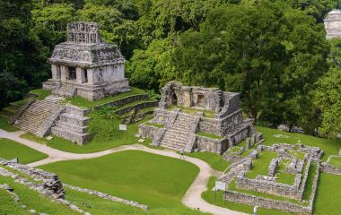 Aerial Panorama of Palenque archaeological site, UNESCO World Heritage