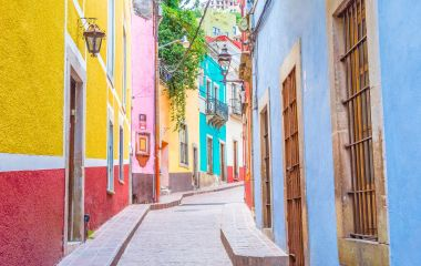 Colorful alleys and streets in Guanajuato city, Mexico, Central America