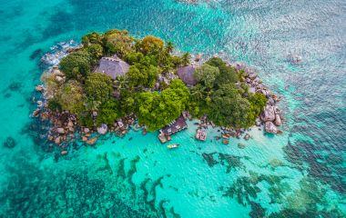 Praslin tropical island Seychelles, drone view above st piere island Seychelles