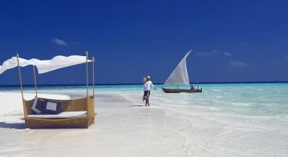 Women walking near the beach in Maldives