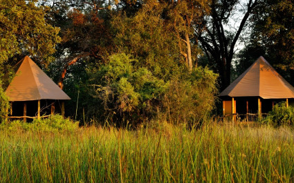 Exterior view of Kanana Camp in Okavango Delta, Botswana