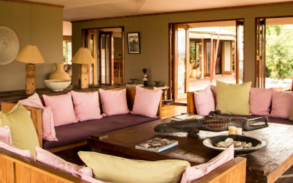 The lounge area at Sayari Camp in the Serengeti, Tanzania