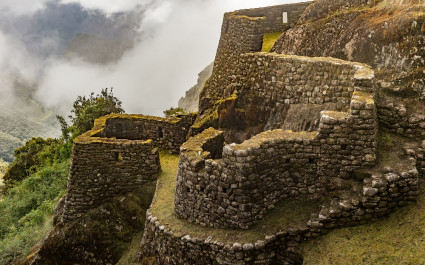 Ruinen der Festung Runkurakay am Inka-Pfad nach Machu Picchu in Peru, Südamerika