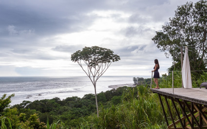 beautiful serene view form a hilltop of the Costa Rican southern pacific coast