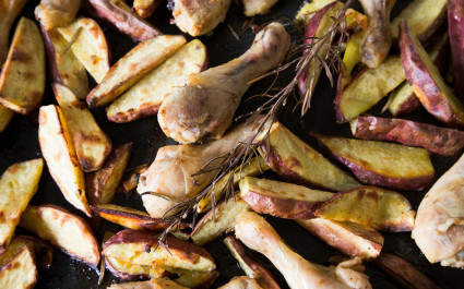 Kumara potatoes cooked and served with grilled chicken, New Zealand