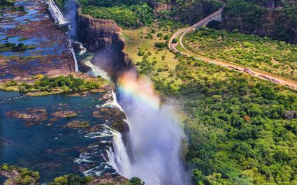 Rainbow over Victoria Falls in Zimbabwe, Africa