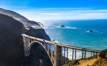 Aerial Bixby Bridge (Rocky Creek Bridge) and Pacific Coast Highway near Big Sur in California, USA America