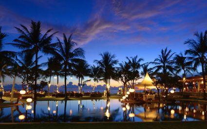 Pool during sunset at The Samaya Seminyak Hotel in Indonesia, Seminyak