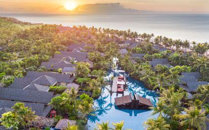 Bird's eye view of St. Regis Bali Resort Hotel in Nusa Dua, Indonesia