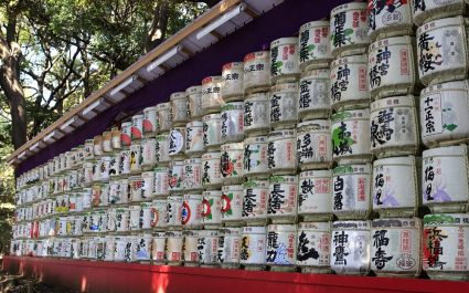 Barrels os sake donated to the Meiji Shrine