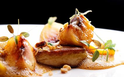 Enchanting Travels France Tours Haute cuisine, roasted Foie gras with homemade ravioli and apples - cuisine in France