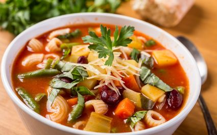 Enchanting Travels Italy Tours Bowl of Minestrone Soup with Pasta, Beans and Vegetables