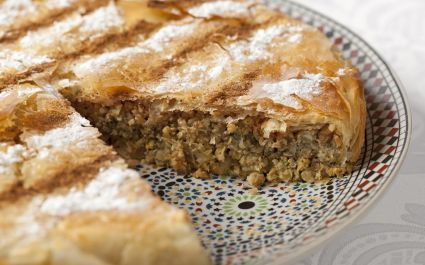 Fresh baked Moroccan Pastilla close up - cuisine in Morocco