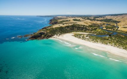 Snelling beach aerial panorama. Kangaroo Island, South Australia