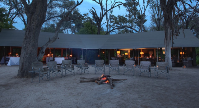 Camp fire at Machaba Camp in Okavango Delta, Botswana