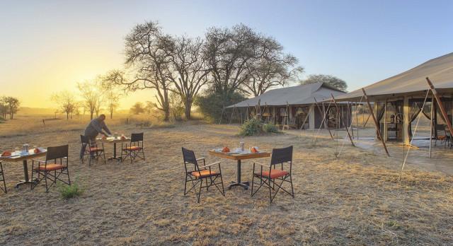 Outdoor dining at Ubuntu Camp N Hotel in Serengeti (Northern), Tanzania