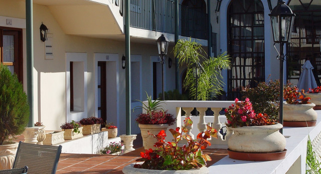 Outdoor area at Don Antonio Posada Hotel in Colonia de Sacramento, Uruguay