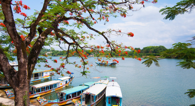 A boat station at Perfume River near Thien Mu pagoda, Hue, Vietnam, Asia