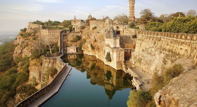 View of the beautiful architecture of Chittorgarh Fort from outside