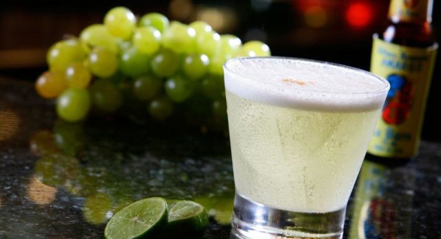 The famous Pisco Sour cocktail of South America