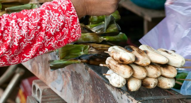 Bananas being sold at the local market in Rattanakiri