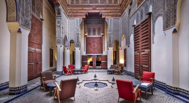 Indoor area at Riad Fes Hotel in Fes, Morocco