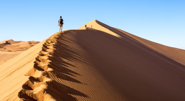 Walking on the Big Daddy dune in Sossusvlei