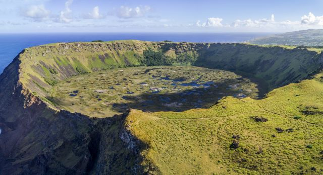 Aerial view of volcanic caldera in Easter Island