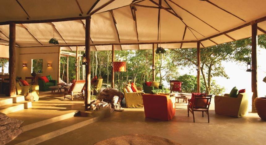 Lounge area at Rubondo Island Camp Hotel, Lake Victoria in Tanzania