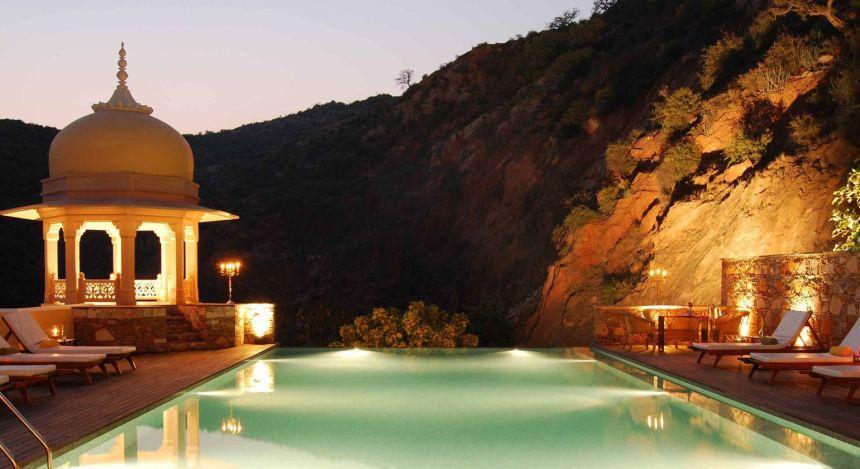 Enchanting Travels - India Tours- Samode Village-Samode Palace -Swimming pool