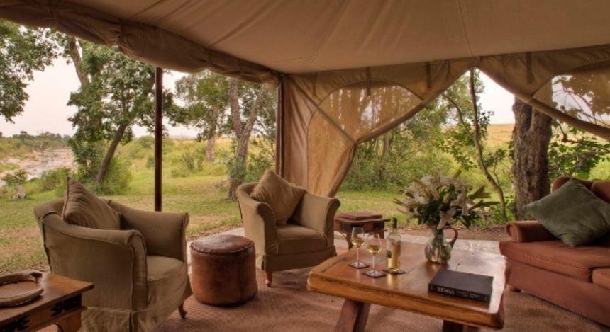 Loungebereich im Rekero Tented Camp Hotel in Masai Mara, Kenia
