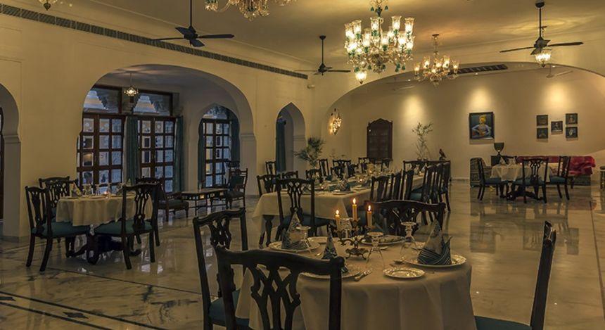 Dining room at Devshree Hotel in Deogarh, North India