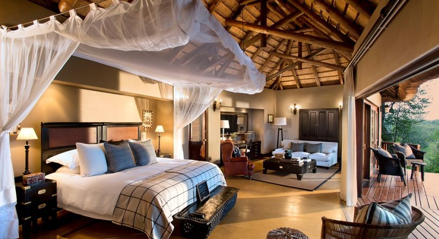 Double room with private terrace at Lion Sands Tinga Lodge Hotel, South Kruger in South Africa