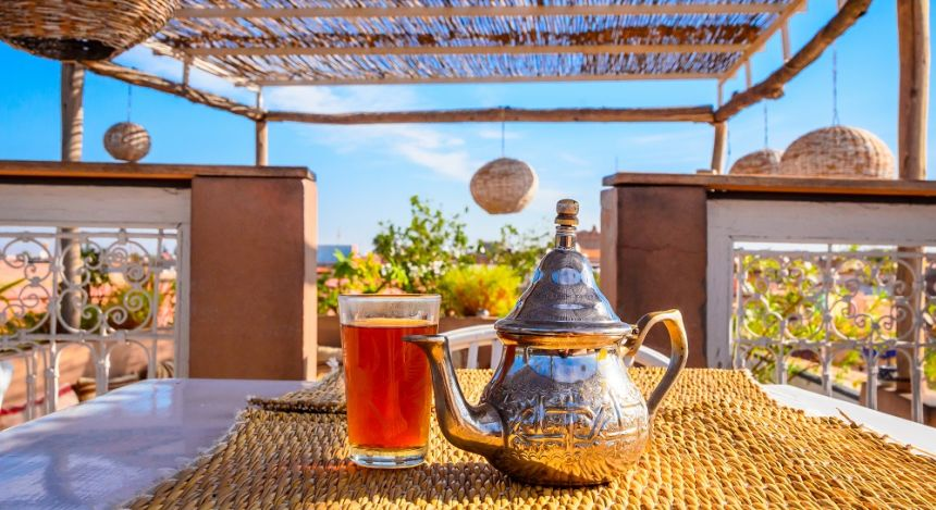 Moroccan mint tea served in a typical teapot