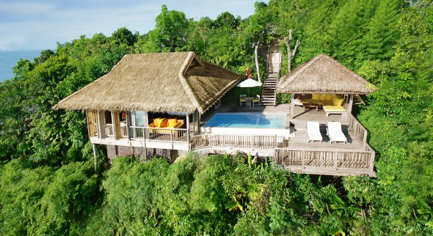 Overview of resort at Six Senses Yao Noi in Koh Yao Noi, Thailand