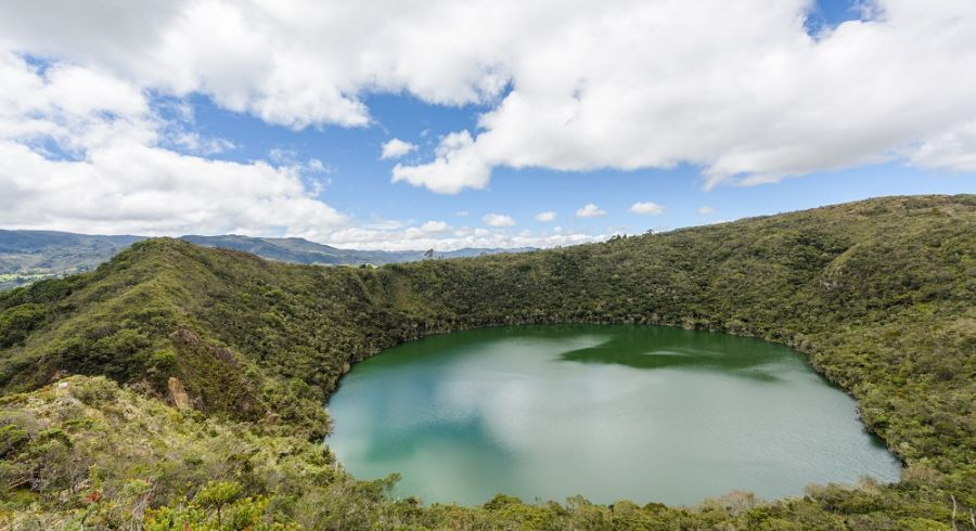 Guatavita, Bogota / Colombia - September 27. 2017: Lagoon of Gua