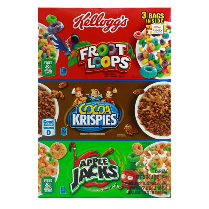 Kellogg's Tri-Fun Cereal Assortment Pack, Froot Loops, Cocoa Krispies and Apple Jack