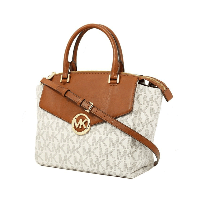 Michael Kors Hudson Handbag Satchel Vanilla Tan Brown