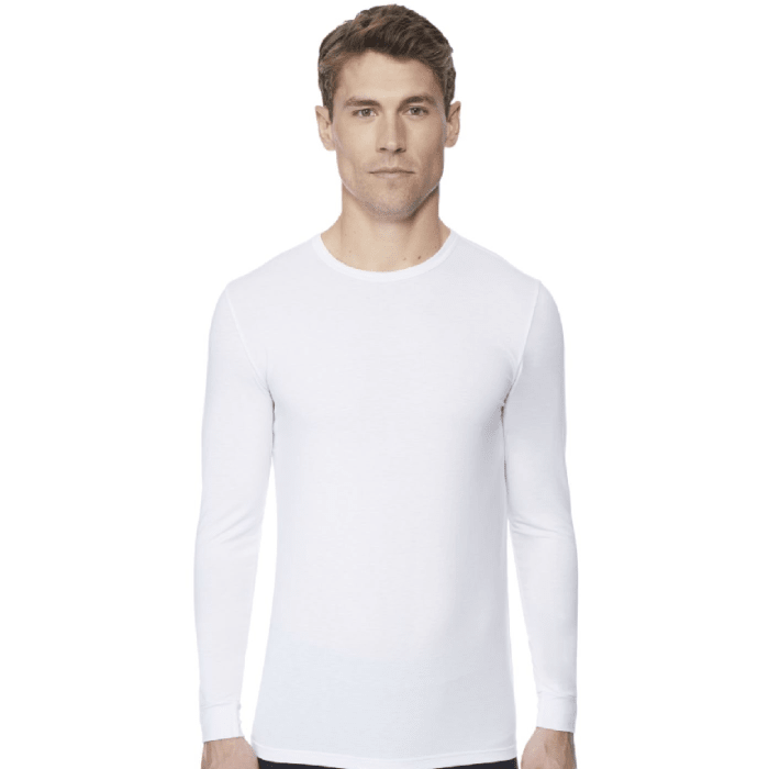 32 Degrees Heat Men's Long Sleeve Crew Neck White Medium Size